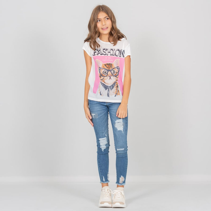 Camiseta blanca para niñas, estampado Fashion