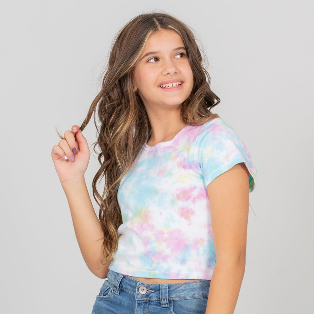 Crop top tie-dye para niñas splash multicolor