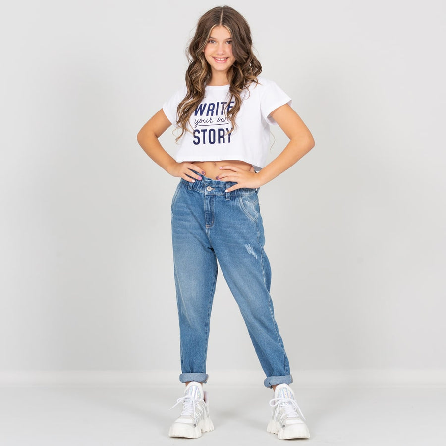 Camiseta blanca corta para niñas Write your own story