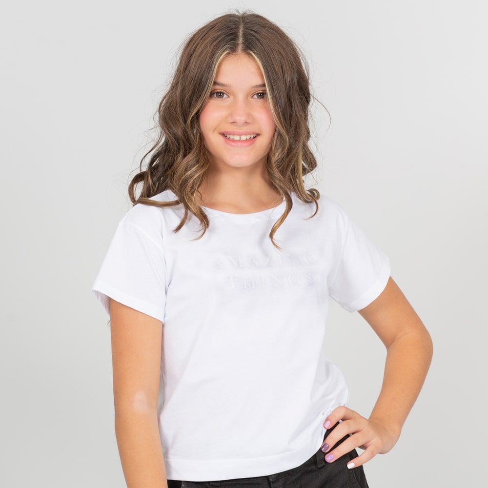 Camiseta blanca para niñas estampado Amazing Things
