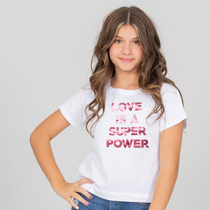 Camiseta blanca corta para niñas, estampado Super power