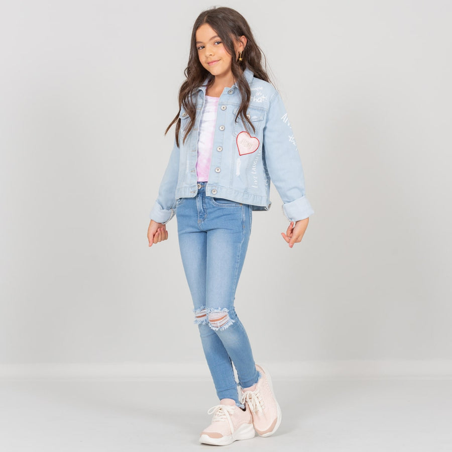 Chaqueta en denim estampada awesome