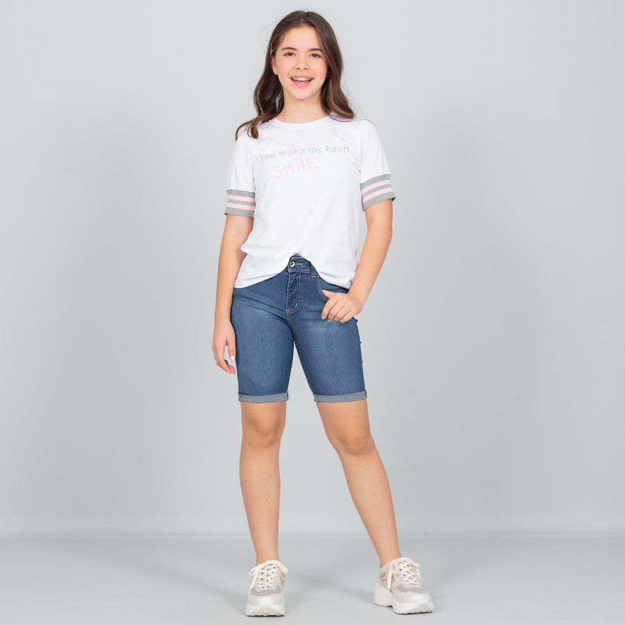 Short tiro alto en denim