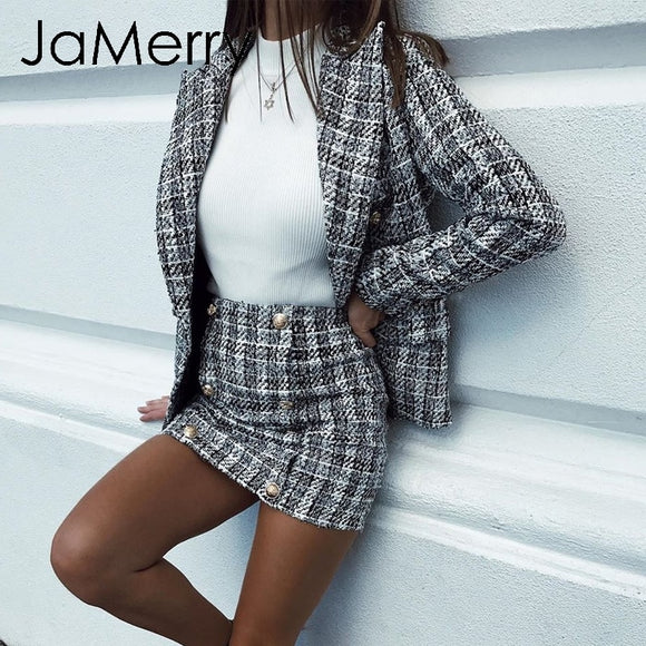 JaMerry Vintage 2 piece set plaid blazer women Buttons double breast office lady blazer jackets work wear female blazer suits