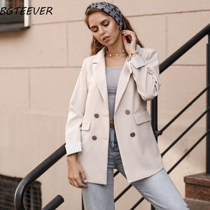Casual Double Breasted Women Jackets Notched Collar Women Blazer Jacket Autumn Winter Female Outerwear Elegant Ladies Coat 2019