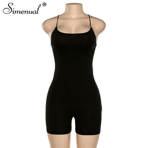 Simenual Sporty Casual Strap Rompers Womens Jumpsuit Workoout Active Wear Fashion Basic Sleeveless Black Skinny Biker Playsuits