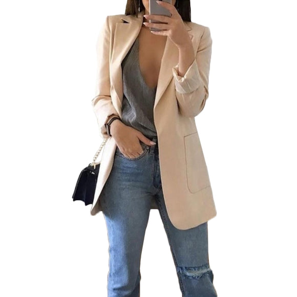 Ladies Blazer Long Sleeve Blaser Women Suit Jacket Female Feminine Blazer Beige Pink Blue Grey Black Blazer Formal OL Tops