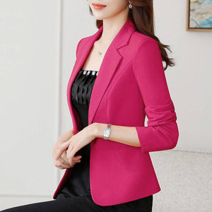 Fashion New Spring Autumn Blazers And Jackets Women Long Sleeve One Button Female Blazer Yellow Red White Coat Women Outerwear