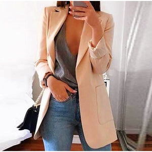 2020 Fashion Autumn Women Slim Blazers Jacket Female Work Office Lady Black Pockets Notched Blazer Coat