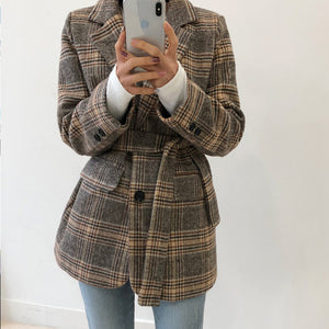 Autumn Vintage Plaid Women Blazer Coats Casual Single Buttons Sashes Female Blazers Fashion Winter Long Sleeve Ladies Blazers