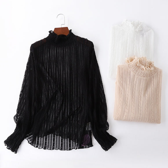 See Through Lace Bottoming Shirt Women High Collar Blouse Sexy Inner Shirt Slim Turtleneck Pullover Long Sleeve T-shirt