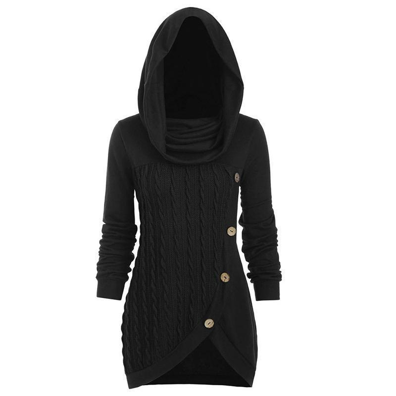 Knitted Cashmere Pullover With Irregular Hood