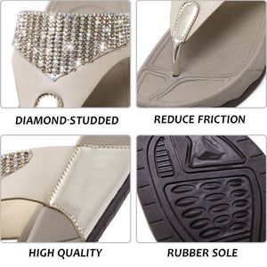 Diamond-Studded Medium Heel Flip Flops
