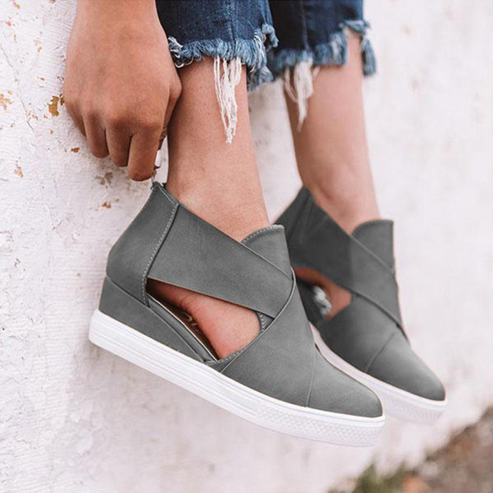 Women's Cut-Out Wedge Sneakers Back Zipper Shoes