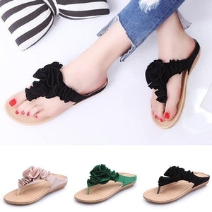 Women Beach Soft Suede Flower Flip Flops Flat Slippers