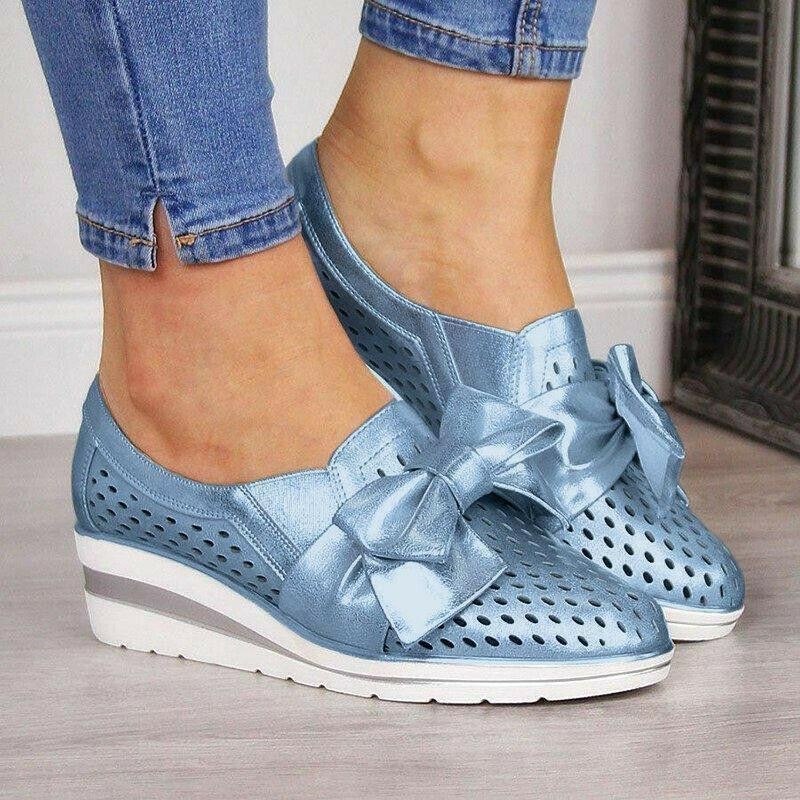 Women Casual Leather Flats BOWKNOT SNEAKERS