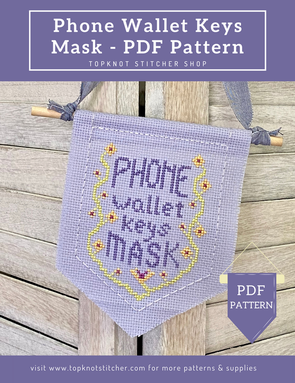 Phone Wallet Keys Mask - PDF | TopKnot Stitcher Shop
