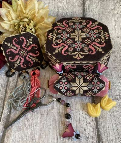 Pre-Order: Black Fantasy Octagonal Sewing Box | Mani Di Donna - Needlework Expo