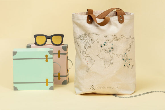 World Map Cross Stitch Tote Bag | Chasing Threads