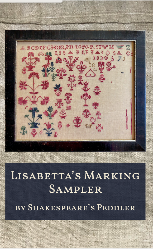 Pre-Order: Lisabetta's Marking Sampler | Shakespeare's Peddler - Needlework Expo