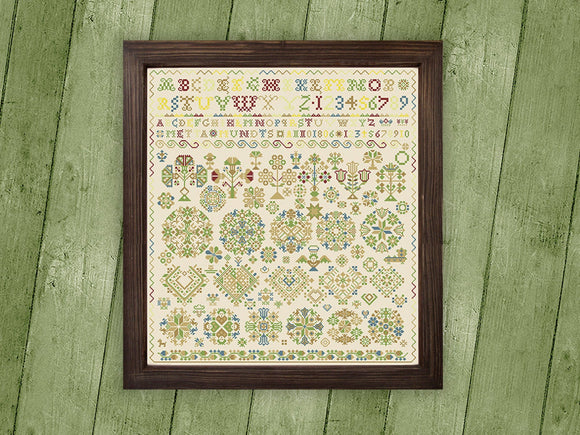 Vierlande Sampler Metta Mundts 1806 Reproduction Sampler | Factura Designs Cross-Stitch Pattern