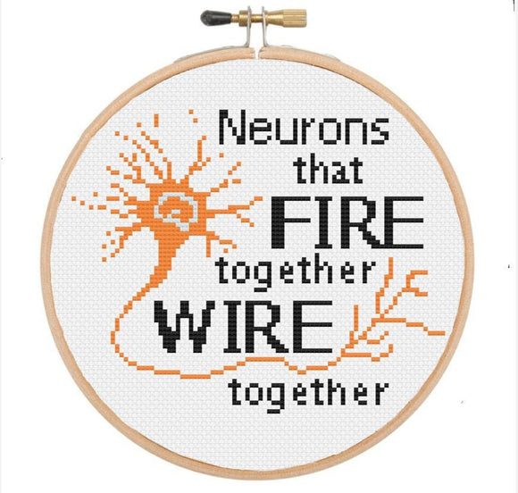 Neurons that Fire Together Wire Together | TopKnot Stitcher Designs *PDF Instant Download*