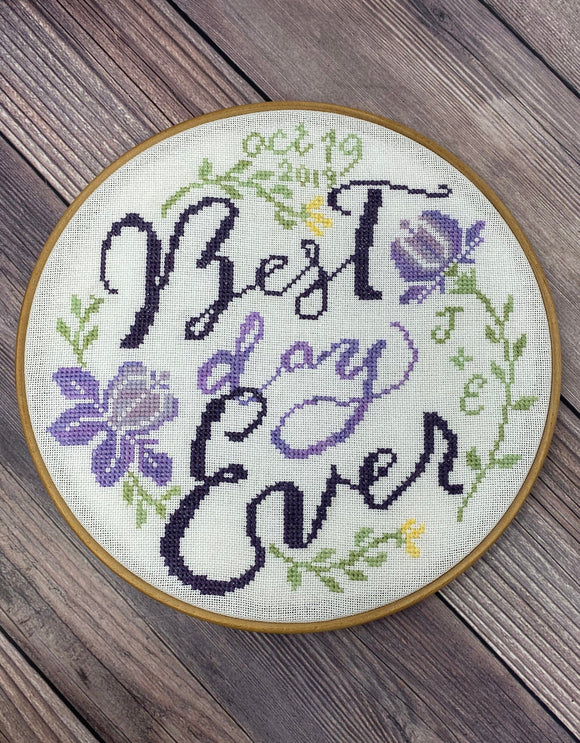 Best Day Ever Wedding Sampler | TopKnot Stitcher Designs *PDF Instant Download*