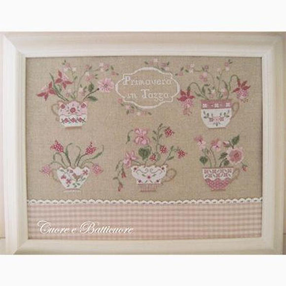 Primavera In Tazza (Spring in Teacups) | Cuore e Batticuore Cross Stitch