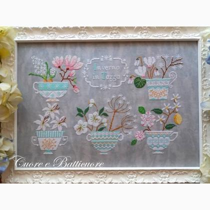 Inverno in Tazza (Winter Floral Teacups) | Cuore e Batticuore Cross Stitch
