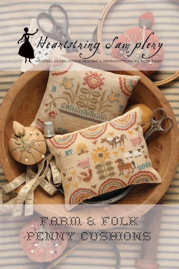 Farm & Folk Penny Cushions | Heartstring Samplery