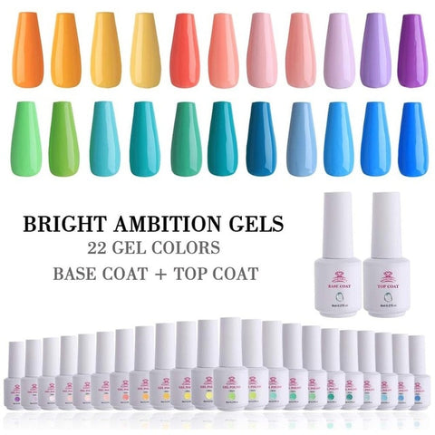 22 Gel Nail Polish + Base Coat +Top Coat