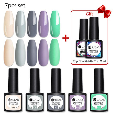 Summer Gel Nail Polish Set |Fresh Color | Nail Art | Base+Top
