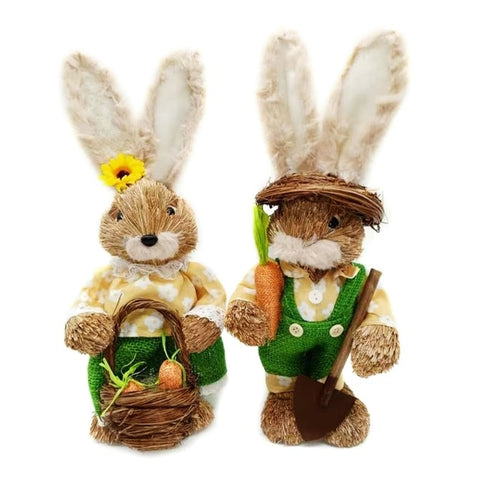 Cute Straw Rabbits Decorations for Easter