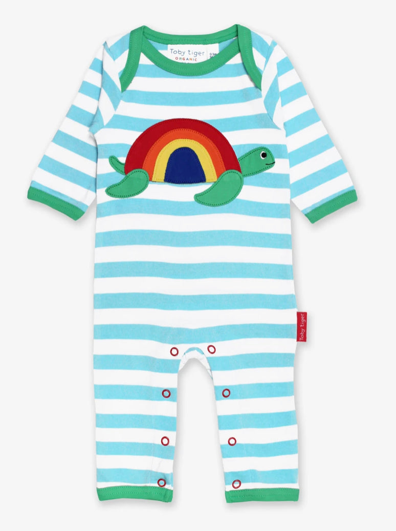 Organic Turtle Appliqué Sleepsuit