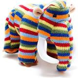 Medium Stripy Knitted Woolly Mammoth Dinosaur Toy