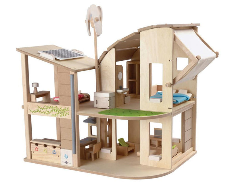 Green Dolls House with Solar Panel and Furniture