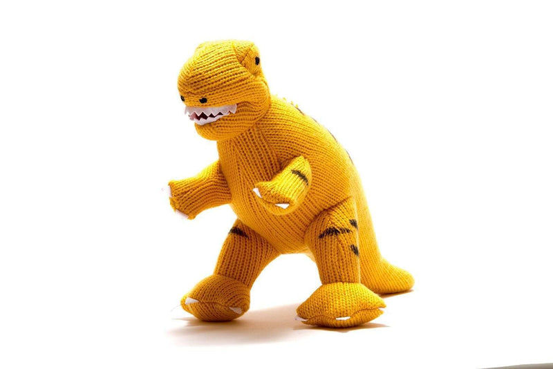 Knitted Yellow T Rex Dinosaur Toy