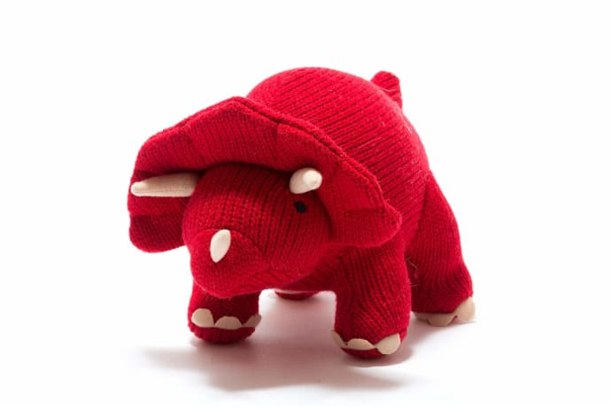 Large Knitted Red Triceratops Dinosaur Toy