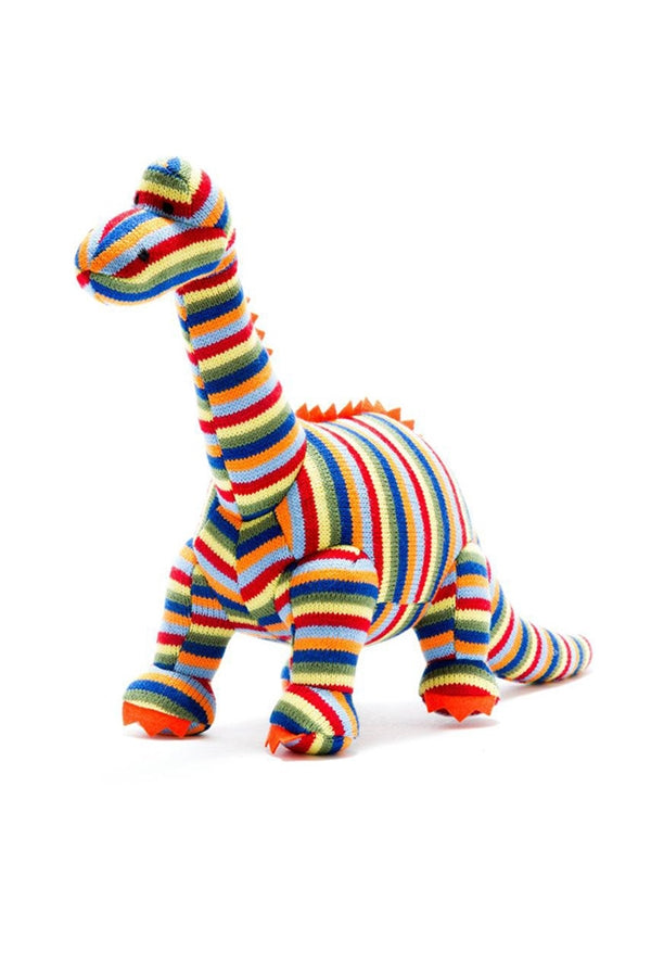 Medium Knitted Stripy Diplodocus Dinosaur Toy