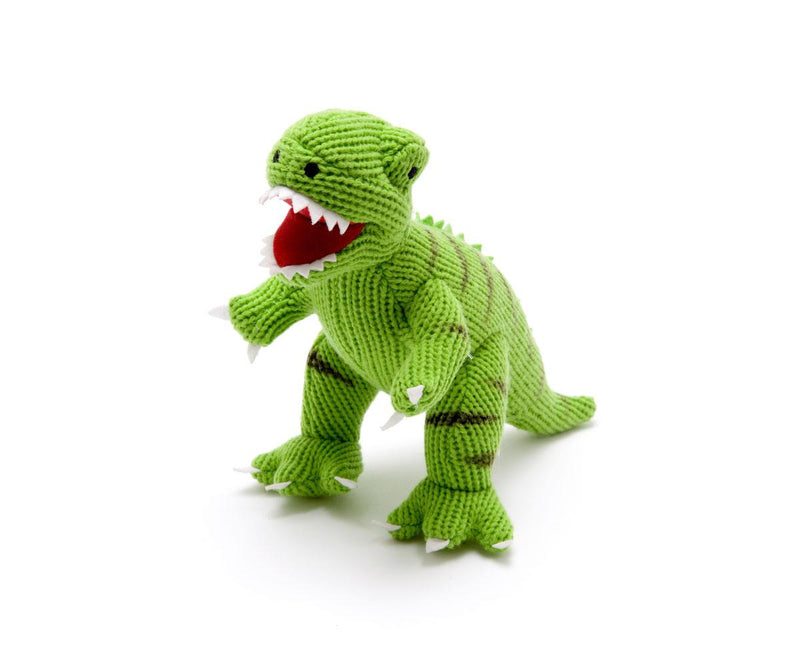 Large Knitted Green T Rex Dinosaur Toy