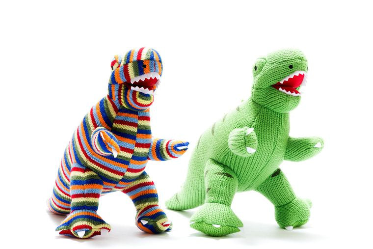 Knitted Green T Rex Dinosaur Toy