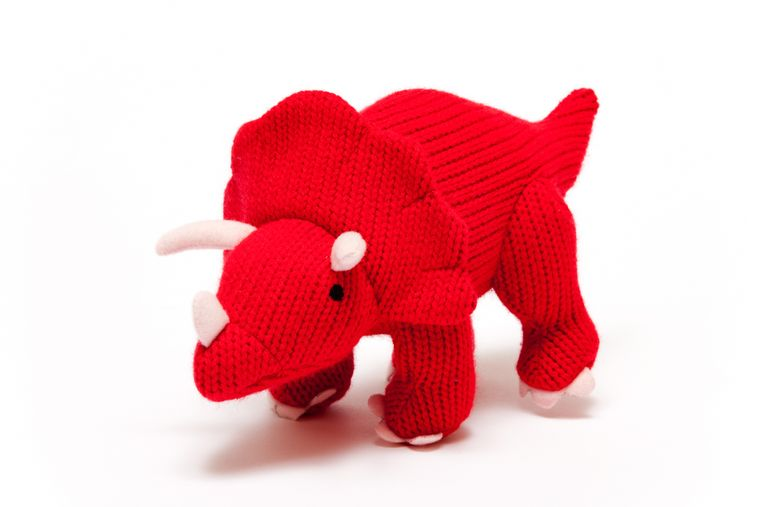 Medium Knitted Red Triceratops Dinosaur Toy