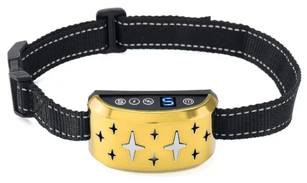 Dog Bark Collar, Rechargeable Stop Barking Collar with 7 Adjustable Sensitivity and Intensity Levels, Rainproof Bark Collar for Small Large Medium Dogs with Adjustable Strap - Gold