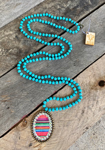 Serape Oval Pendant On Turquoise Bead Necklace