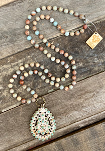 Turquoise & Taupe Santa Fe Necklace