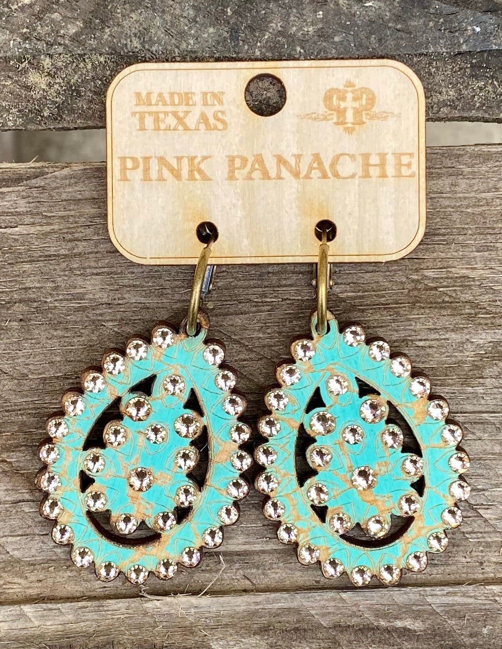 Turquoise & Taupe Crystal Small Santa Fe Earring