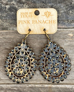 Black & Black Crystal Large Santa Fe Earring