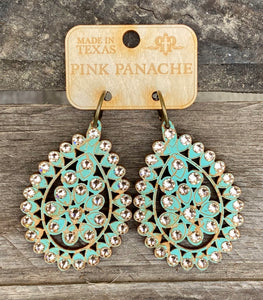 Turquoise & Taupe Crystal Large Santa Fe Earring