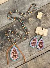 Load image into Gallery viewer, Turquoise & Leopard Studded Teardrop Earring