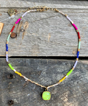 Load image into Gallery viewer, Rainbow & Lime Pendant Choker Necklace